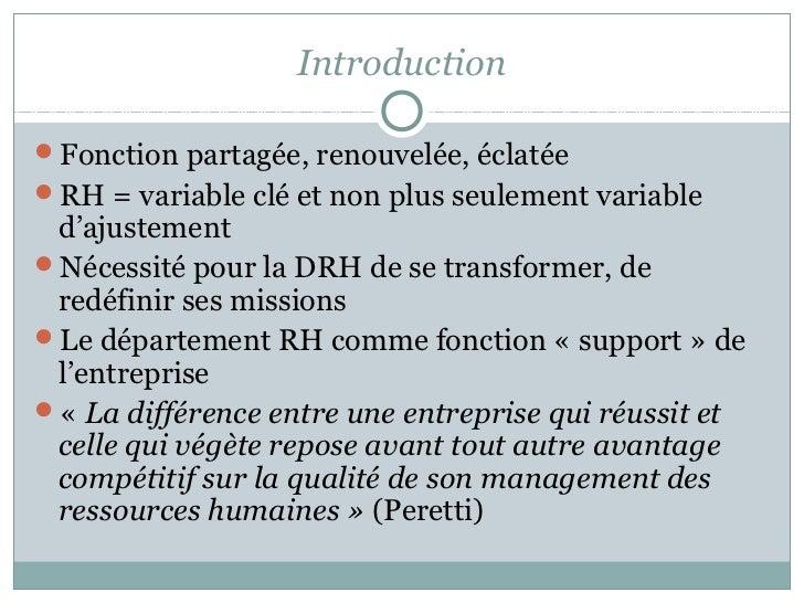 Introduction à la GRH Slide 2