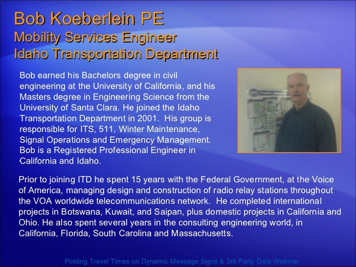 Bob earned his Bachelors degree in civil engineering at the University of California, and his Masters degree in Engineerin...