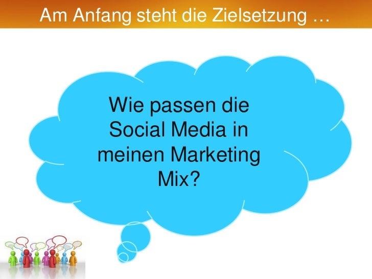 Am Anfang steht die Zielsetzung …       Wie passen die       Social Media in      meinen Marketing            Mix?