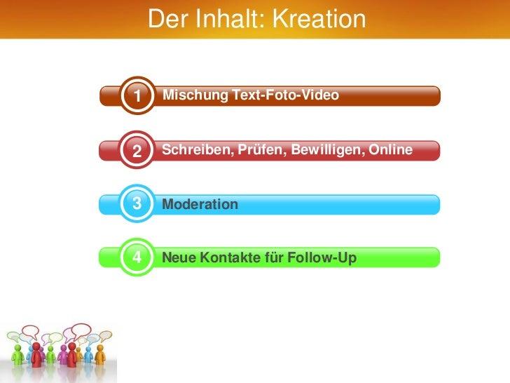 Der Inhalt: Kreation1    Mischung Text-Foto-Video2    Schreiben, Prüfen, Bewilligen, Online3    Moderation4    Neue Kontak...