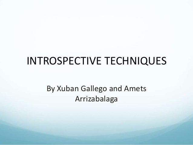 INTROSPECTIVE TECHNIQUES By Xuban Gallego and Amets Arrizabalaga