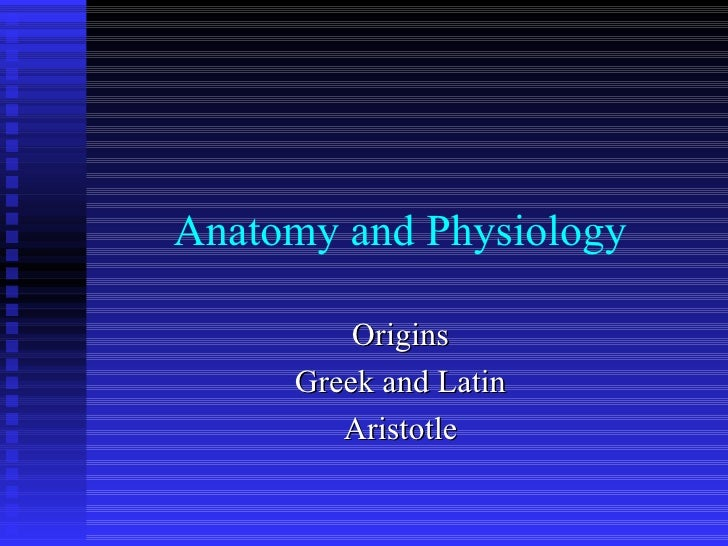 Anatomy and Physiology Origins Greek and Latin Aristotle