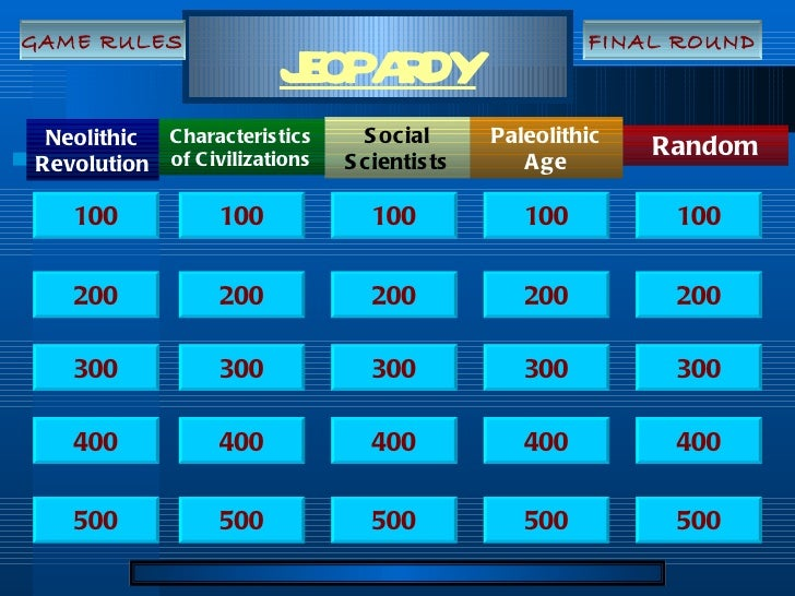 JEOPARDY Neolithic Revolution Random Social Scientists Paleolithic Age Characteristics of Civilizations 100 200 300 400 50...