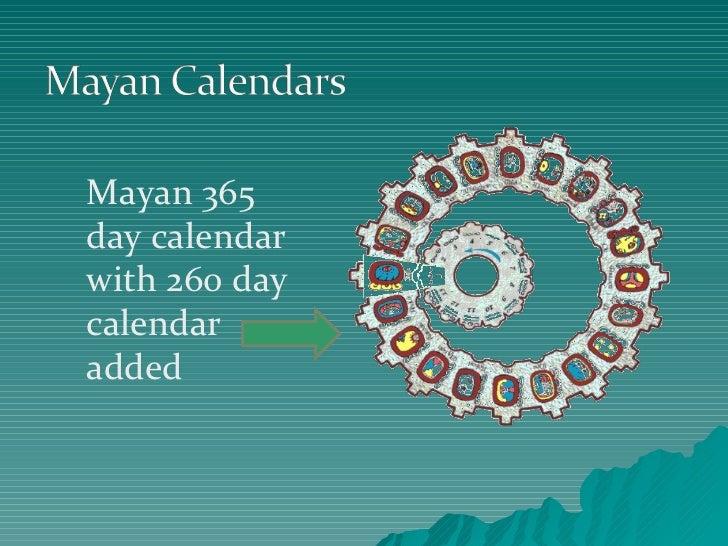Mayan 365 day calendar with 260 day calendar added