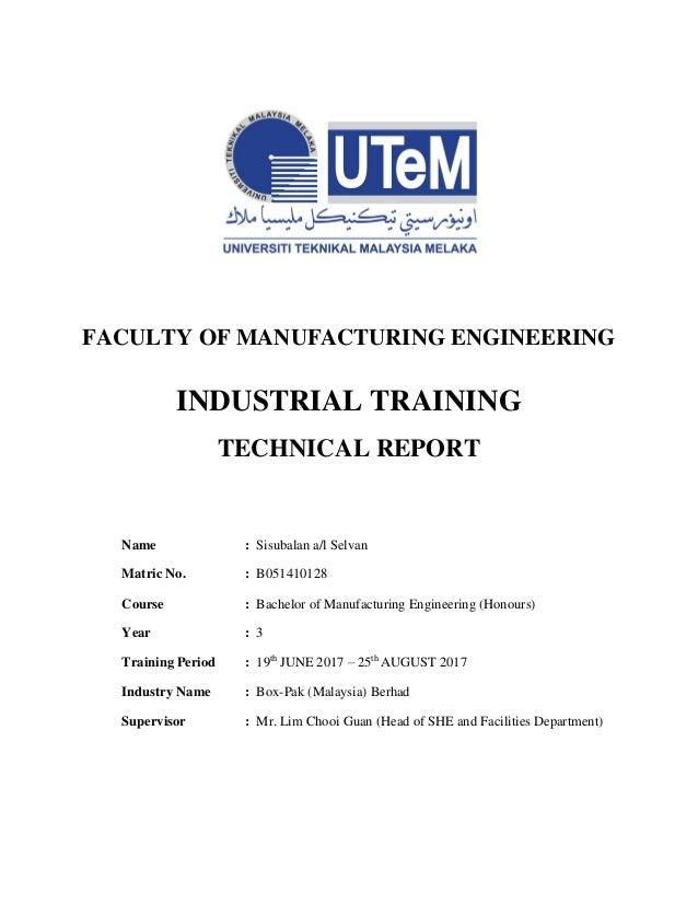 Industrial Training Report Box Printing Industries