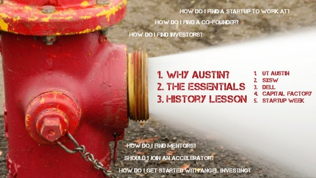 1. Why Austin? 2. The Essentials 3. History Lesson LAWYERS HAPPY HOURS COWORKING VENTURE CAPITAL HARDWARE MEETUPS HACKATHO...