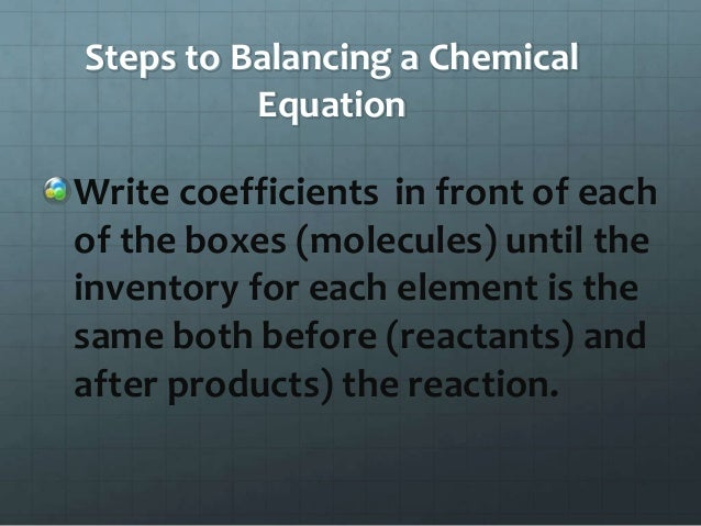 Intro To Balancing Chemical Reactions