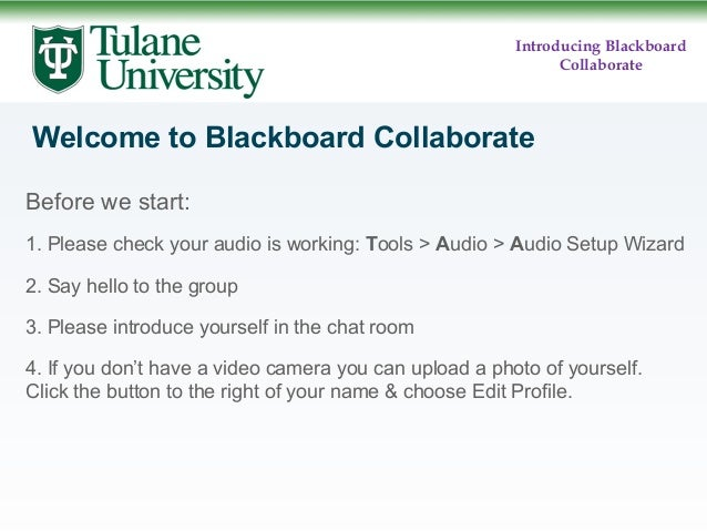 Introducing Blackboard Collaborate  Welcome to Blackboard Collaborate Before we start: 1. Please check your audio is worki...
