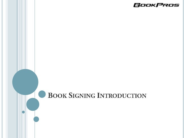 Book Signing Introduction<br />