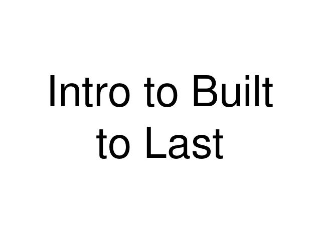 Intro to Built to Last