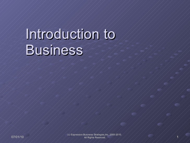 Introduction to Business 07/01/10 (c) Expressive Business Strategies,Inc. 2005-2010.  All Rights Reserved.