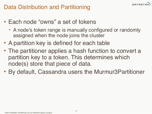 """Data Distribution and Partitioning  • Each node """"owns"""" a set of tokens  • A node's token range is manually configured or r..."""