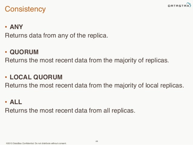 Consistency  • ANY  Returns data from any of the replica.  • QUORUM  Returns the most recent data from the majority of rep...