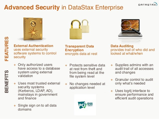 Advanced Security in DataStax Enterprise  BENEFITS FEATURES  External Authentication  uses external security  software sys...