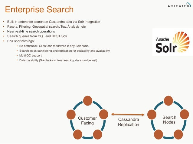 Enterprise Search  • Built-in enterprise search on Cassandra data via Solr integration  • Facets, Filtering, Geospatial se...