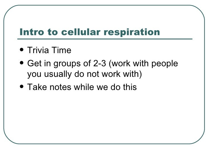 Intro to cellular respiration   Trivia Time   Get in groups of 2-3 (work with people    you usually do not work with)  ...