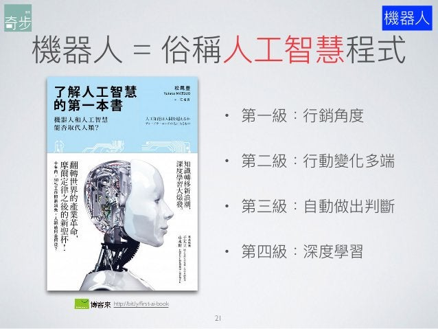機器⼈人 = 俗稱⼈人⼯工智慧程式 機器⼈人 21 http://bit.ly/first-ai-book • 第⼀一級:⾏行行銷⾓角度 • 第⼆二級:⾏行行動變化多端 • 第三級:⾃自動做出判斷 • 第四級:深度學習