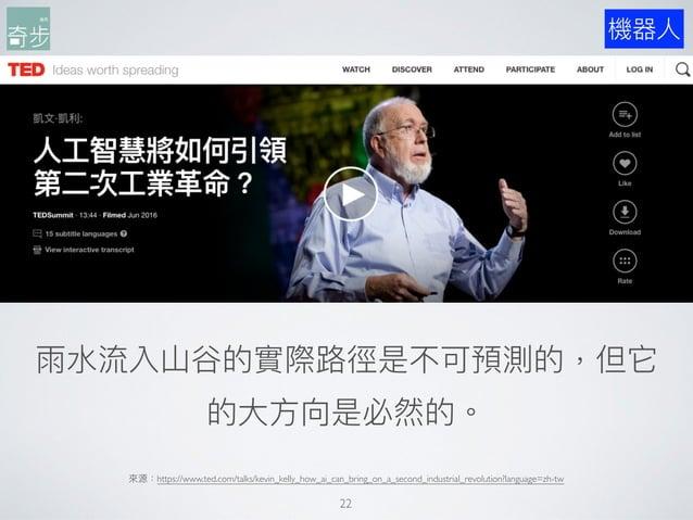 來來源:https://www.ted.com/talks/kevin_kelly_how_ai_can_bring_on_a_second_industrial_revolution?language=zh-tw 22 雨⽔水流入⼭山⾕谷的實...