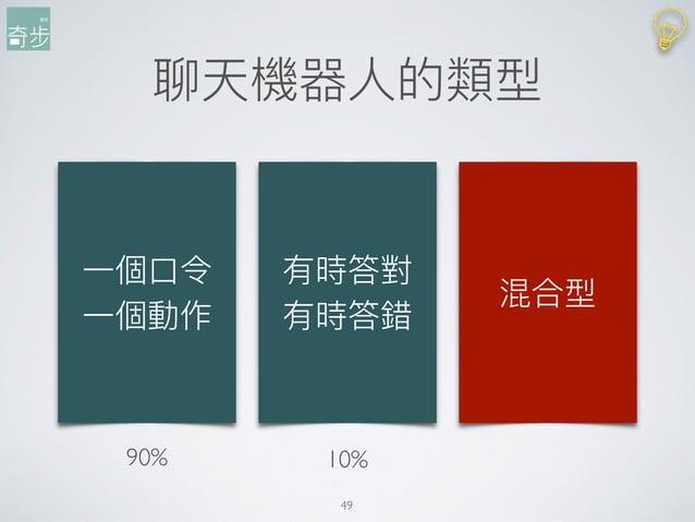 聊天機器⼈人的類型 49 ⼀一個⼝口令 ⼀一個動作 有時答對 有時答錯 混合型 90% 10%