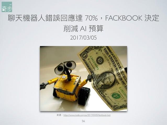 聊天機器⼈人錯誤回應達 70%,FACKBOOK 決定 削減 AI 預算 56 來來源:https://www.inside.com.tw/2017/03/05/fackbook-bot 2017/03/05