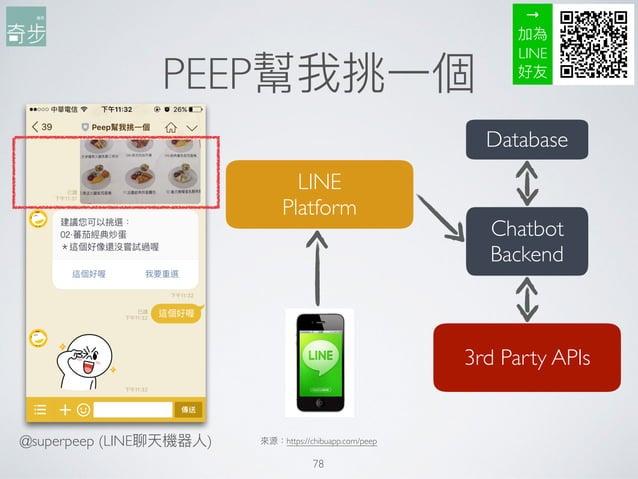 PEEP幫我挑⼀一個 78 來來源:https://chibuapp.com/peep LINE Platform Chatbot Backend Database 3rd Party APIs → 加為 LINE 好友 @superpeep...
