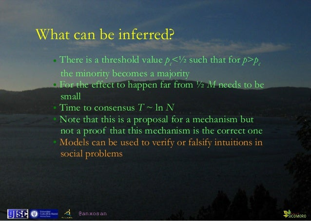 @anxosan What can be inferred? • There is a threshold value pc<½ such that for p>pc  the minority becomes a majority • Fo...