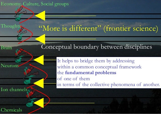 Chemicals Ion channels Neurons Brain Thoughts Economy, Culture, Social groups It helps to bridge them by addressing  with...