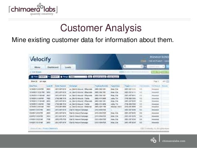 Customer Analysis Mine existing customer data for information about them.