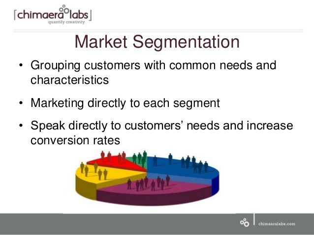 Market Segmentation • Grouping customers with common needs and characteristics • Marketing directly to each segment • Spea...