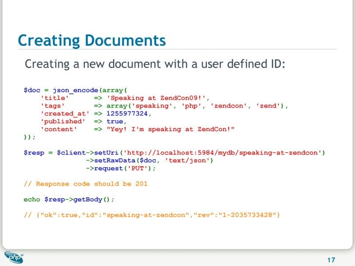 Creating Documents Creating a new document with a user defined ID:  $doc = json_encode(array(     'title'      => 'Speakin...