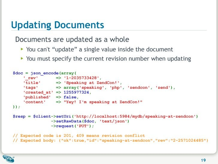 """Updating Documents Documents are updated as a whole    ▶   You can't """"update"""" a single value inside the document    ▶   Yo..."""