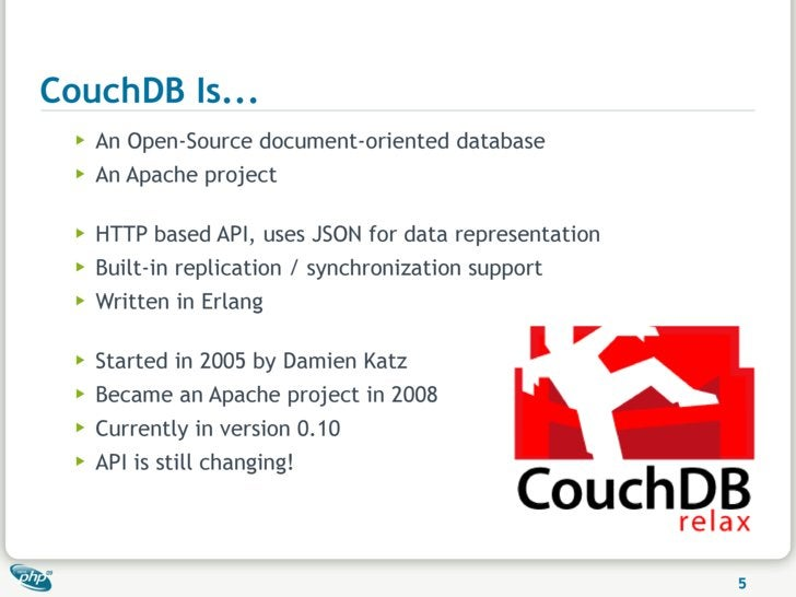 CouchDB Is...   ▶   An Open-Source document-oriented database   ▶   An Apache project    ▶   HTTP based API, uses JSON for...