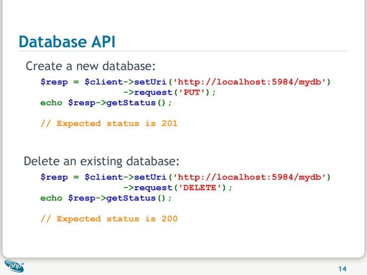 Database API Create a new database:   $resp = $client->setUri('http://localhost:5984/mydb')                  ->request('PU...