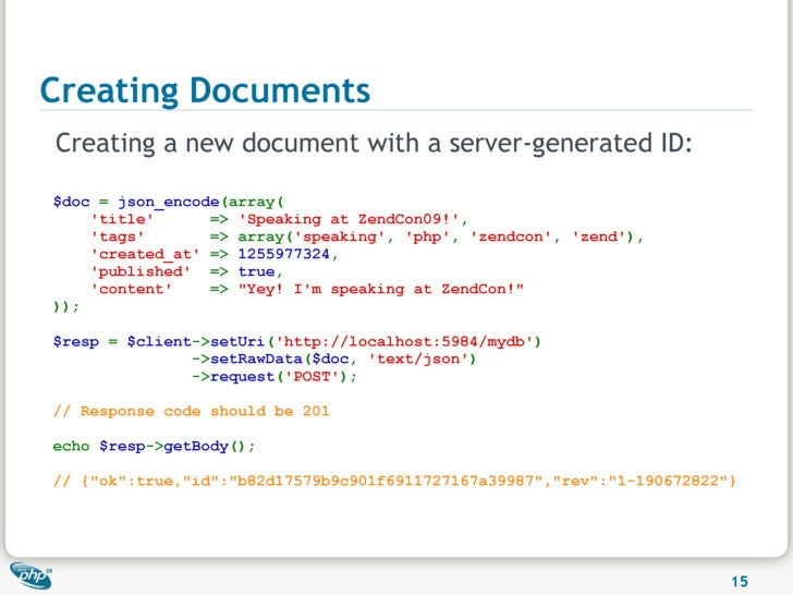 Creating Documents Creating a new document with a server-generated ID:  $doc = json_encode(array(     'title'      => 'Spe...
