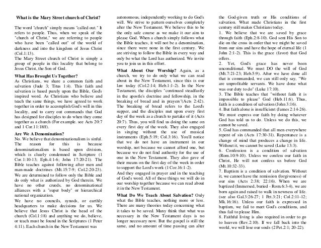 """What is the Mary Street church of Christ? The word """"church"""" simply means """"called out."""" It refers to people. Thus, when we ..."""