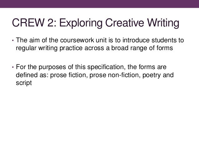 introduction to creative forms of writing Twelve assignments every middle school student should write is a revision and expansion of gary's earlier book, middle school writing projects: ideas for writing across the curriculum  with this book, gary has offered a roadmap for both using writing and teaching.