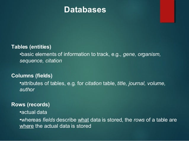 the characteristics of biological databases a data storage system As data storage and analysis devices, computers are admirably suited to the task   not integrate methylation data and yet methylation is an essential  characteristic of  biological data sources use structured database management  systems.