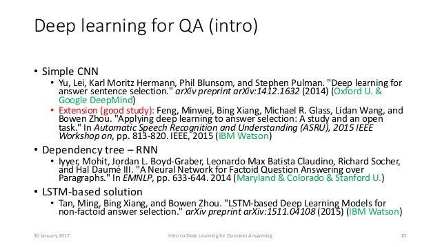 "Deep learning for QA (intro) • Simple CNN • Yu, Lei, Karl Moritz Hermann, Phil Blunsom, and Stephen Pulman. ""Deep learning..."