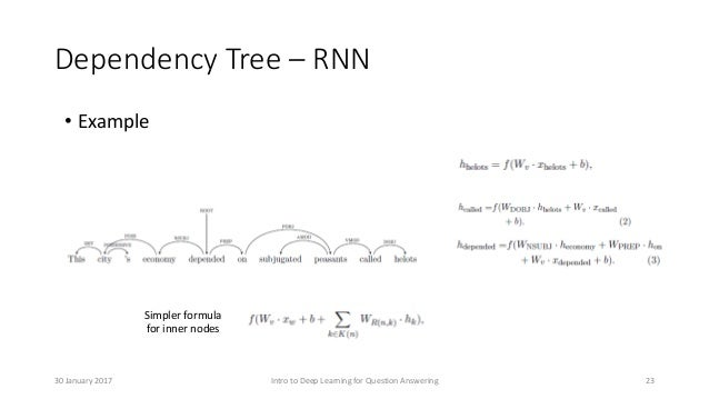 Dependency Tree – RNN • Example Simpler formula for inner nodes Intro to Deep Learning for Question Answering 2330 January...