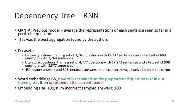Dependency Tree – RNN • QANTA: Previous model + average the representations of each sentence seen so far in a particular q...