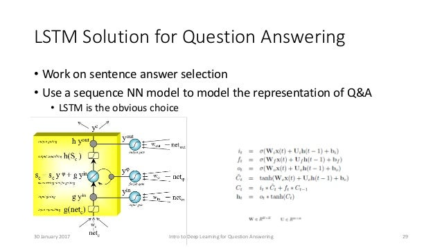 LSTM Solution for Question Answering • Work on sentence answer selection • Use a sequence NN model to model the representa...