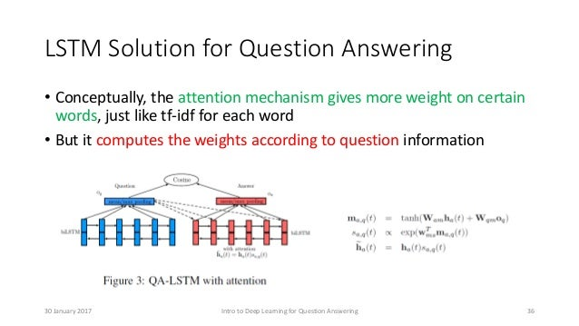 LSTM Solution for Question Answering • Conceptually, the attention mechanism gives more weight on certain words, just like...