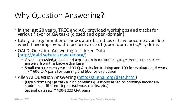 Why Question Answering? • In the last 20 years, TREC and ACL provided workshops and tracks for various flavor of QA tasks ...