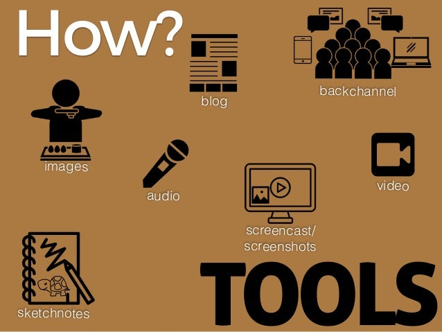 TOOLS images blog video audio sketchnotes screencast/ screenshots How? backchannel