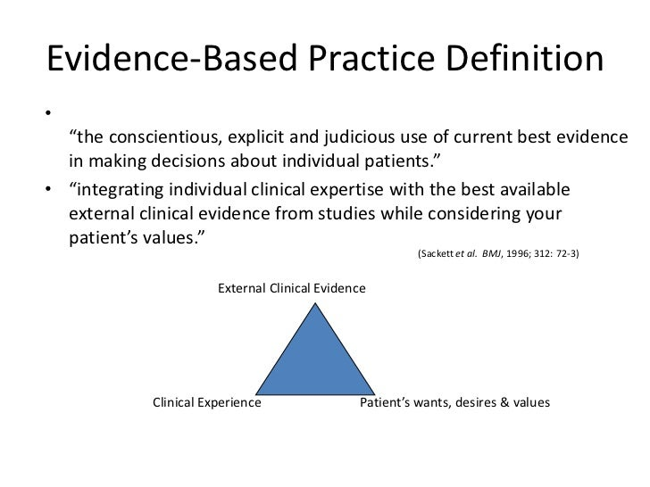 """Evidence-Based Practice Definition•  """"the conscientious, explicit and judicious use of current best evidence  in making de..."""