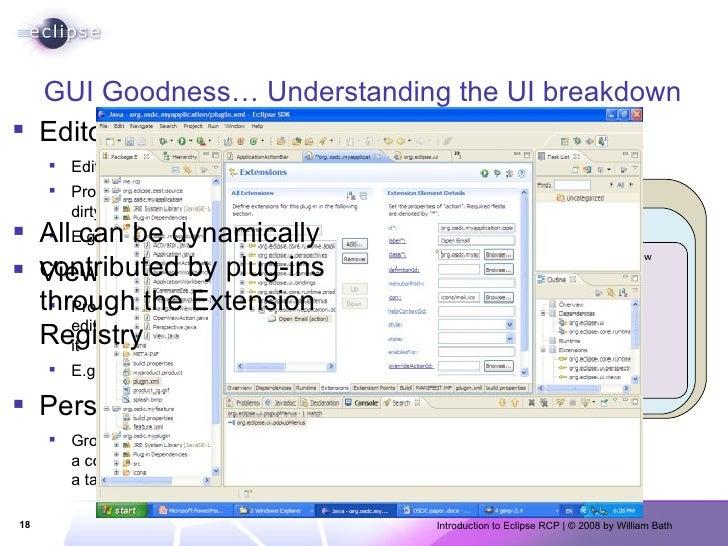 GUI Goodness… Understanding the UI breakdown <ul><li>Editors </li></ul><ul><ul><li>Edit resources </li></ul></ul><ul><ul><...