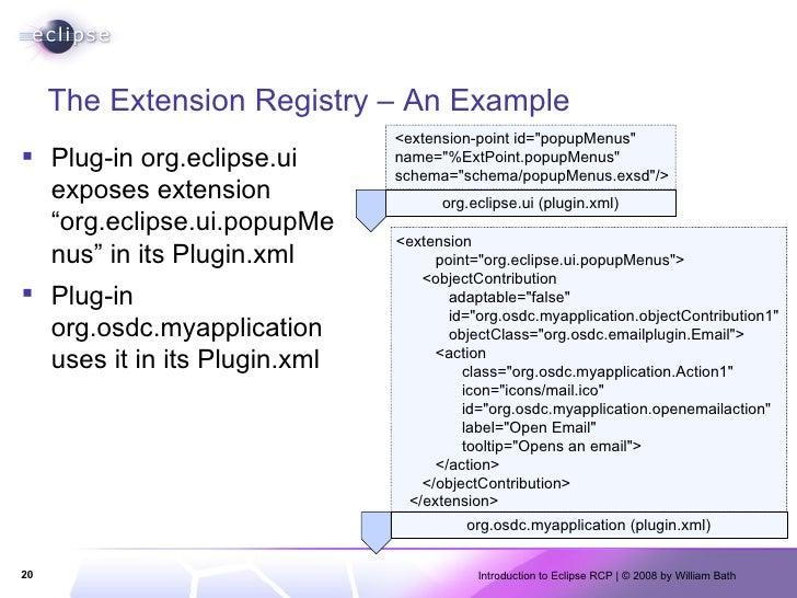 """The Extension Registry – An Example <ul><li>Plug-in org.eclipse.ui exposes extension """"org.eclipse.ui.popupMenus"""" in its Pl..."""