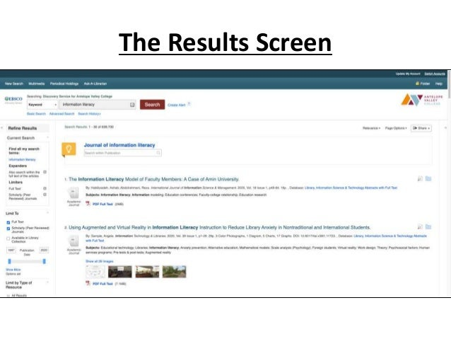 The Results Screen