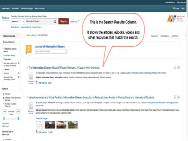 For each located resource, EDS provides a citation (Title, Author, Date, Subject Terms) and a link to the full-text. These...