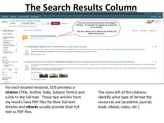 Whenever you are in the full citation for any resource, you can get back to your list of search results by clicking Result...